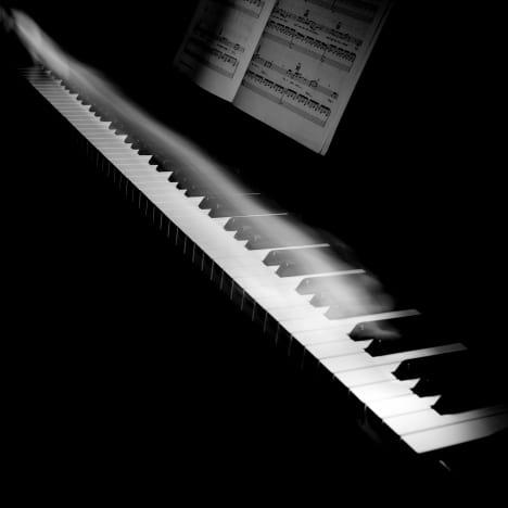 close-up of a piano keyboard